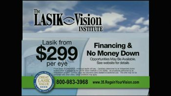The LASIK Vision Institute TV Spot, '$299'