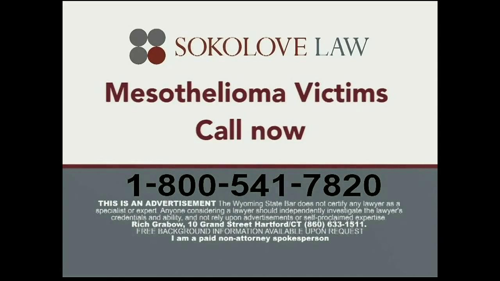 Sokolove Law Tv Commercial Mesothelioma Caused By Asbestos Ispot Tv