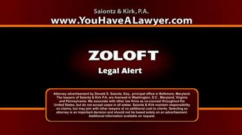 Saiontz & Kirk, P.A. TV Spot, 'Zoloft' - Thumbnail 1