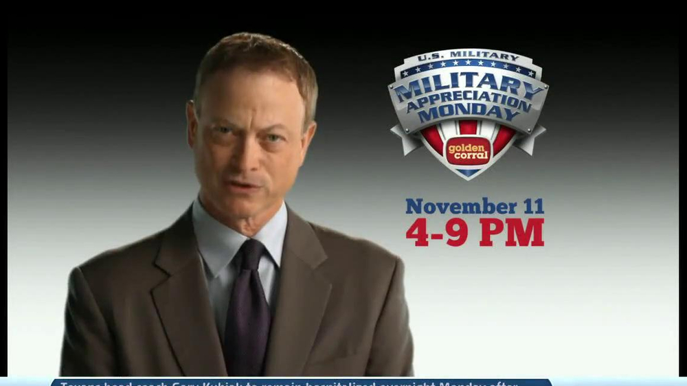 Golden Corral Military Appreciation Monday TV Commercial Featuring Gary Sinise