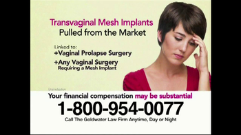 Goldwater Law Firm TV Spot, 'Transvaginal Mesh Implant Awards' - Thumbnail 1