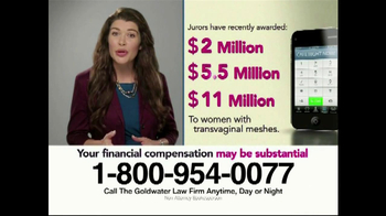 Goldwater Law Firm TV Spot, 'Transvaginal Mesh Implant Awards' - Thumbnail 3