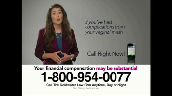 Goldwater Law Firm TV Spot, 'Transvaginal Mesh Implant Awards' - Thumbnail 8