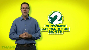 Subway Customer Appreciation Month TV Spot Feat. Jared Fogle, Apolo Ohno - Thumbnail 1