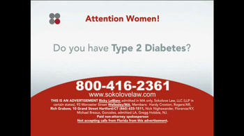 Sokolove Law TV Spot, 'Type 2 Diabetes, Cholesterol Medication' - Thumbnail 1