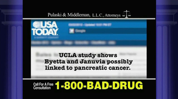 Pulaski & Middleman TV Spot, 'Byetta, Januvia, Janumet or Victoza' - Thumbnail 1