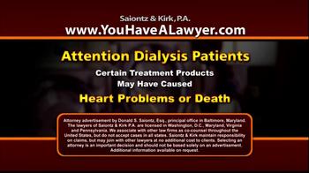 Saiontz & Kirk, P.A. TV Spot 'Dialysis' - Thumbnail 1