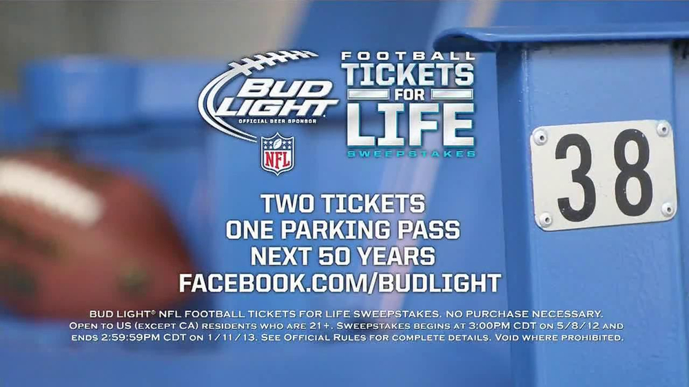 Bud Light Football Tickets for Life Sweepstakes TV Commercial - Video