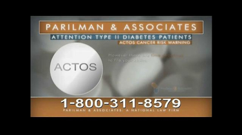 Parilman & Associates TV Spot, 'Actos and Type II Diabetes' - Thumbnail 5