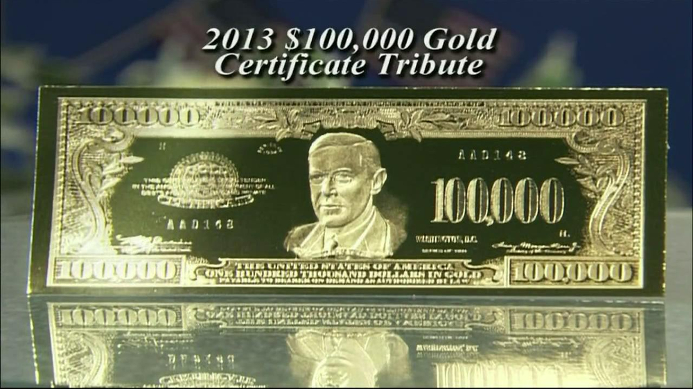 100,000 Gold Certificate Tribute TV Commercial - iSpot.tv