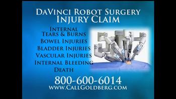 Goldberg Attorneys, P.C. TV Spot, 'DaVinci Robot Surgery'