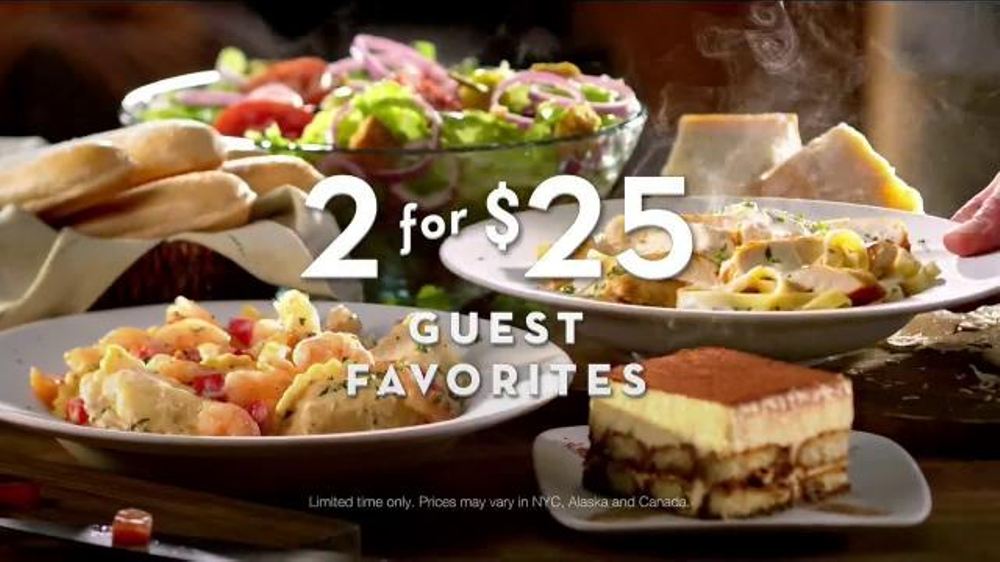Olive Garden TV Commercial 2 for 25 is Back iSpottv