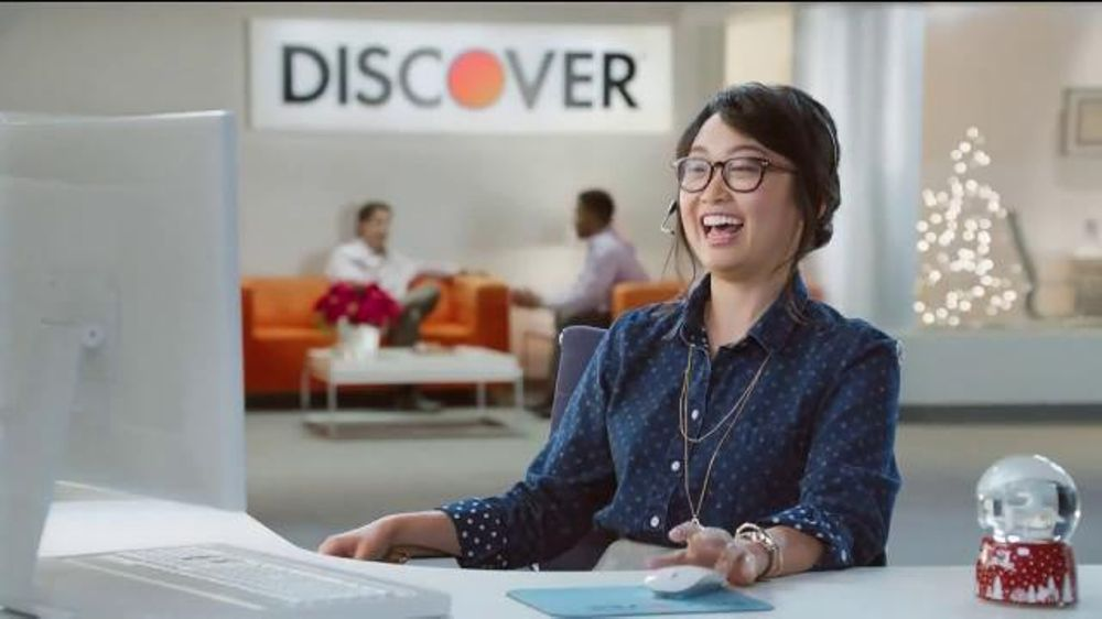 discover card cashback bonus tv commercial office holiday party