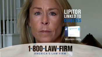 1-800-LAW-FIRM TV Spot, 'Lipitor Linked to Diabetes' - Thumbnail 8