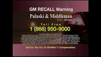Pulaski & Middleman TV Spot, 'GM Recall Warning' - Thumbnail 4