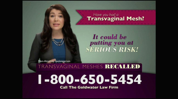 Goldwater Law Firm TV Spot, 'Transvaginal Mesh Implants Recalled' - Thumbnail 3
