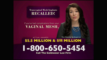Goldwater Law Firm TV Spot, 'Transvaginal Mesh Implants Recalled' - Thumbnail 6