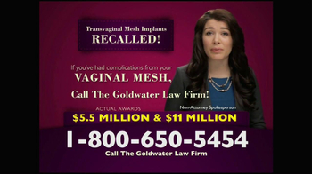 Goldwater Law Firm TV Spot, 'Transvaginal Mesh Implants Recalled' - Thumbnail 7