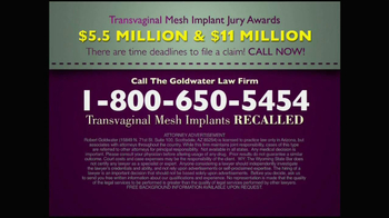 Goldwater Law Firm TV Spot, 'Transvaginal Mesh Implants Recalled' - Thumbnail 9
