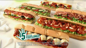 Subway $5 Regular Footlongs TV Spot  - Thumbnail 3