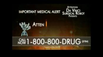 Parilman Lawfirm TV Spot, 'Attention Da Vinci Surgical Robot Patients' - Thumbnail 1