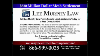 Lee Murphy Law TV Spot, 'Surgical Mesh'