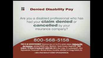 Sokolove Law, LLC TV Spot for Denied Disability Pay - Thumbnail 1