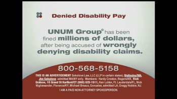 Sokolove Law, LLC TV Spot for Denied Disability Pay - Thumbnail 3