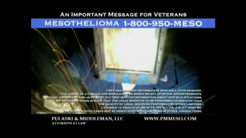 Pulaski & Middleman TV Spot Mesothelioma and Veterans  - Thumbnail 5