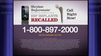 Goldwater Law Firm TV Spot, 'Stryker Rejuvenate Hip Implants' - Thumbnail 4