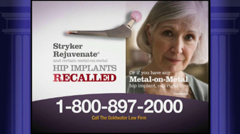 Goldwater Law Firm TV Spot, 'Stryker Rejuvenate Hip Implants' - Thumbnail 2