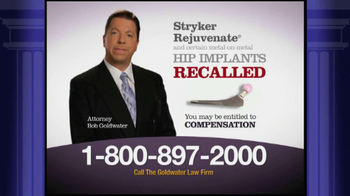 Goldwater Law Firm TV Spot, 'Stryker Rejuvenate Hip Implants' - Thumbnail 3