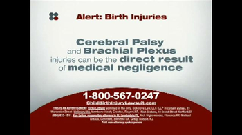 Sokolove Law TV Spot, 'Alert: Birth Injuries' - Thumbnail 1