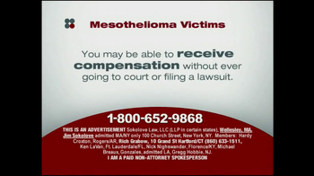 Sokolove Law TV Spot, 'Mesothelioma Victims' - Thumbnail 4