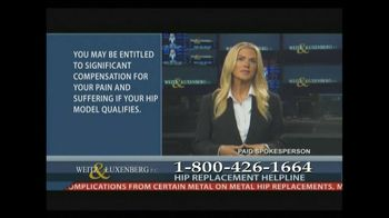 Weitz and Luxenberg TV Spot, 'Metal-on-Metal Hip Replacement' Ft Christina - 24 commercial airings