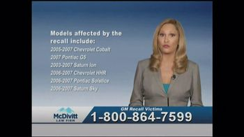 McDivitt Law Firm TV Spot, \'GM Recall Victims\'