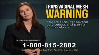 Goldwater Law Firm TV Spot, 'Transvaginal Mesh Complications'