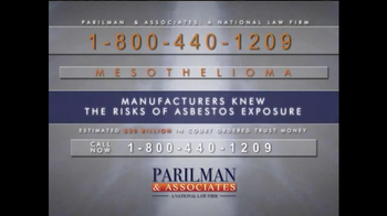 Parilman & Associates TV Spot, 'Asbestos Exposure'