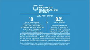 2012 Honda Pilot LX TV Spot, 'Summer Clearance Event' Song by One Republic - Thumbnail 7