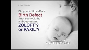 Weitz and Luxenberg TV Spot For Birth Defects Caused By Zoloft or Paxil - Thumbnail 1