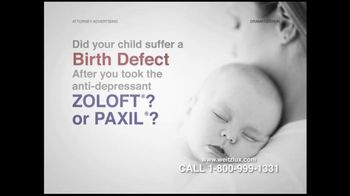 Weitz and Luxenberg TV Spot For Birth Defects Caused By Zoloft or Paxil - Thumbnail 4