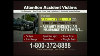 GoldWater Law Firm TV Spot For Car Accident Victims - Thumbnail 2