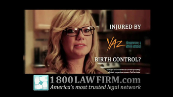 1-800-LAW-FIRM TV Spot For Injured By Yaz