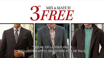 JoS. A. Bank TV Spot, 'Three Free Suits, Sports, or Outerwear Coats' - Thumbnail 1