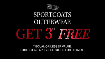 JoS. A. Bank TV Spot, 'Three Free Suits, Sports, or Outerwear Coats' - Thumbnail 3