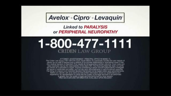 Criden Law Group TV Spot, 'Avelox Cipro Levaquin' - Thumbnail 9