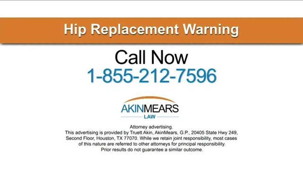 AkinMears TV Commercial, 'Hip Replacement Warning'