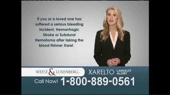 Weitz and Luxenberg TV Spot, 'Xarelto Lawsuit Alert'