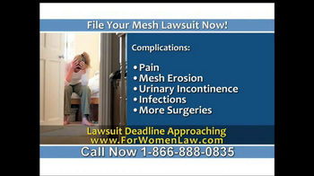 Steelman and McAdams TV Spot, 'Mesh Lawsuit'
