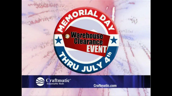 Craftmatic Memorial Day Warehouse Clearance Event TV Spot - Thumbnail 2